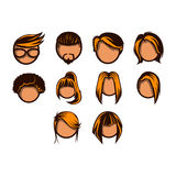 Hairstyle icon set Stock Image