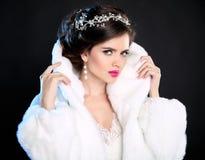 hairstyle jewelry Красивый портрет зимы модели девушки моды Стоковые Изображения