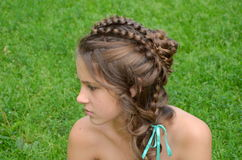 Hairstyle with long hair Stock Image
