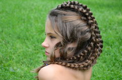 Hairstyle with long hair Royalty Free Stock Images
