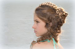 Hairstyle with long hair Stock Photos