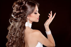 Hairstyle. Long Hair. Glamour Fashion Woman Portrait Of Beautiful brunette stock photography