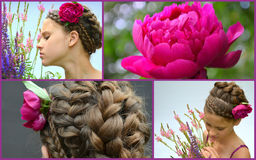 Hairstyle for long hair and peony, collage Royalty Free Stock Images