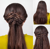 Hairstyle for long hair tutorial stock image