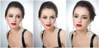 Hairstyle and make up - beautiful female art portrait with earrings. Elegance. Genuine natural brunette with jewelry Royalty Free Stock Images