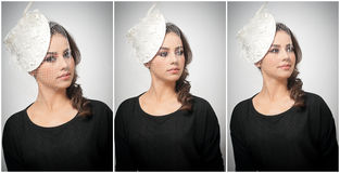 Hairstyle and make up - beautiful young girl art portrait. Cute brunette with white cap and veil, studio shot. Attractive female Stock Photography