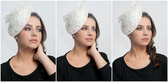 Hairstyle and make up - beautiful young girl art portrait. Cute brunette with white cap and veil, studio shot. Attractive female Royalty Free Stock Images