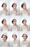 Hairstyle and make up - beautiful young girl art portrait. Cute brunette with white cap and veil, studio shot. Attractive girl Royalty Free Stock Photos