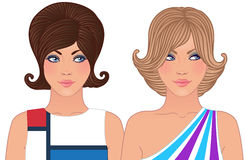 Hairstyle and makeup of 1960-1970. Hairstyle and make-up of decades of the 20th century (1960-1970 vector illustration