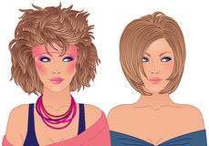 Hairstyle and makeup of 1980-1990 Royalty Free Stock Images