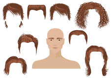 Hairstyle.Man face and set of haircuts Stock Photo