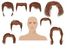Hairstyle.Man gezicht en reeks kapsels royalty-vrije illustratie