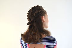 Hairstyle on medium length. Hairstyle braiding on medium length stock photos
