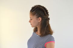 Hairstyle on medium length. Hairstyle braiding on medium length stock image