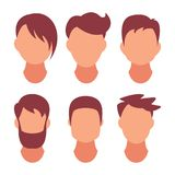 Hairstyle Men. Classical and fashionable hair. Salon of hairstyles for a hairstyle. Vector icon on set isolated on white royalty free stock photos