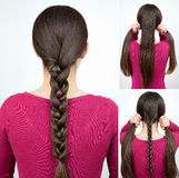 Hairstyle one simple braid tutorial. Hair tutorial. Hairstyle one simple braid tutorial step by step. Backstage technique of weaving plait Royalty Free Stock Image