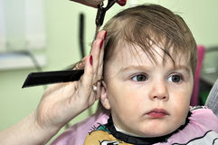Hairstyle one year old child Stock Photos