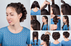 Hairstyle plaits for long hair tutorial Royalty Free Stock Photos