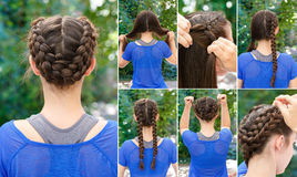 Hairstyle plaits for sports royalty free stock photography