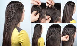 Hairstyle plaits tutorial Royalty Free Stock Images
