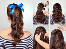 Hairstyle pony tail on curly hair tutorial. Simple hairstyle pony tail on curly hair tutorial. Hairstyle for long hair. Sea style Stock Image