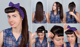 Hairstyle pony tail on long hair tutorial Stock Photography