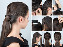 Hairstyle ponytail with plait tutorial royalty free stock photo
