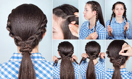 Hairstyle ponytail tutorial Royalty Free Stock Photos