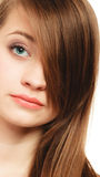Hairstyle. Portrait of girl with long bang covering eye Royalty Free Stock Photography