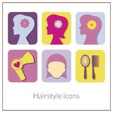Hairstyle rectangular icons with rounded corners Stock Photography