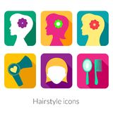 Hairstyle rectangular icons with rounded corners Royalty Free Stock Photo