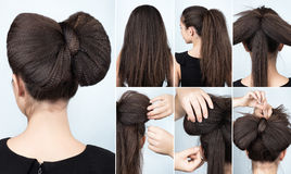Hairstyle with rippled hair tutorial. Fashionable hairstyle volume bow of ripple curly hair. Hairstyle for long hair. Hairstyle tutorial. Crimped hair. Hairstyle stock photos