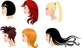 Hairstyle set Royalty Free Stock Images