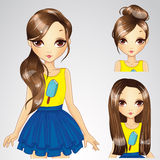 Hairstyle Set Of Girl In Yellow Shirt Stock Images