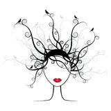Hairstyle silhouette stock illustration