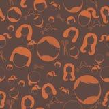 Hairstyle silhouette seamless pattern.Woman,girl,female,boy,man,male hair icon. Stock Photos
