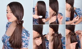 Hairstyle tail with bow for long hair tutorial. Simple hairstyle self tail with bow for long hair tutorial. Hairstyle for long hair. Hair model brunette Stock Image