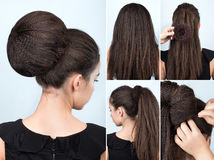 Hairstyle tutorial bun with chignon Royalty Free Stock Image