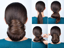 Hairstyle tutorial twisted bun Royalty Free Stock Photo