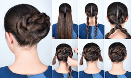 Hairstyle twisted bun tutorial Stock Photography
