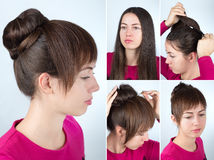 Hairstyle twisted bun tutorial Royalty Free Stock Photos