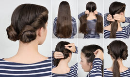Hairstyle twisted buns tutorial. Simple hairstyle two twisted buns. Hairstyle tutorial step by step Stock Image