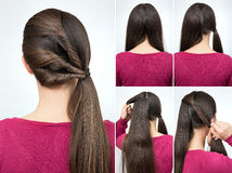 Hairstyle twisted pony tail tutorial stock photos