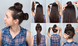 Hairstyle two bun tutorial Stock Images