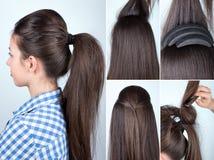 Hairstyle volume ponytail tutorial. Volume hairstyle ponytail with bouffant tutorial. Hairstyle for long hair tutorial. Simple hairstyle with hair bump tool Royalty Free Stock Photos
