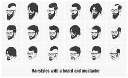 Hairstyles με μια γενειάδα και mustache τη φθορά ελεύθερη απεικόνιση δικαιώματος