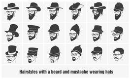 Hairstyles με μια γενειάδα και mustache τη φθορά απεικόνιση αποθεμάτων