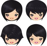 Hairstyles. Cute girl with different hairstyles Royalty Free Stock Image