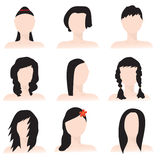 Hairstyles. 9 different hairstyles silhouettes on mannequins, with additional .eps format Royalty Free Stock Photos