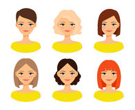 Πρόσωπα γυναικών με τα διαφορετικά hairstyles Στοκ Εικόνες